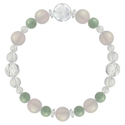 再生する力を高める | ホワイトオニキス・翡翠・水晶(クォーツ) 花かずら(8mm)ブレスレット
