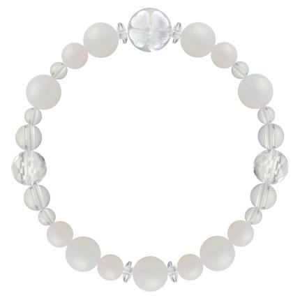 練色 | ホワイトオパール・水晶(クォーツ) 花かずら(8mm)ブレスレット