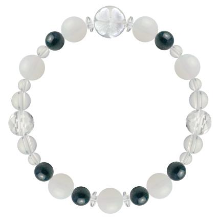才能と魅力を引き出す | ホワイトオパール・クリソコラ・水晶(クォーツ) 花かずら(8mm)ブレスレット