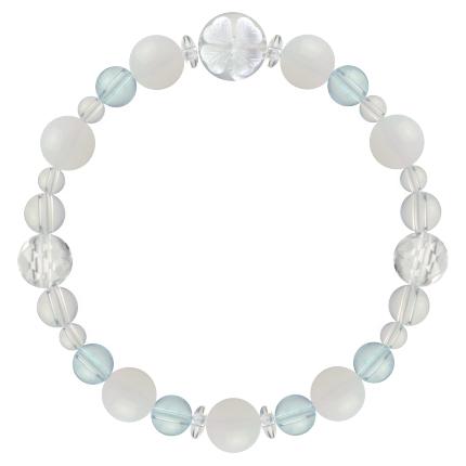 愛される資質を養う | ホワイトオパール・ブルートパーズ・水晶(クォーツ) 花かずら(8mm)ブレスレット