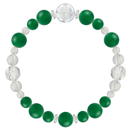 緑色 | グリーンメノウ・水晶(クォーツ) 花かずら(8mm)ブレスレット