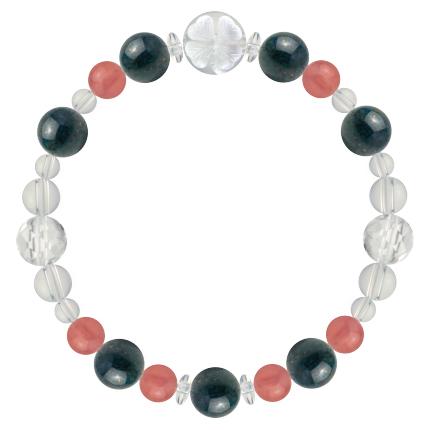 女性の幸運を招く | クリソコラ・インカローズ・水晶(クォーツ) 花かずら(8mm)ブレスレット