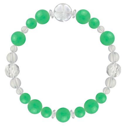 若緑色 | クリソプレーズ・水晶(クォーツ) 花かずら(8mm)ブレスレット