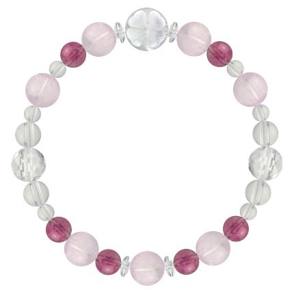 愛情と優しさを育む | クンツァイト・ピンクトルマリン・水晶(クォーツ) 花かずら(8mm)ブレスレット