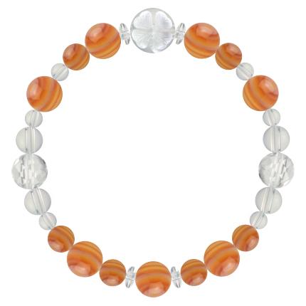 橙色 | サードオニキス・水晶(クォーツ) 花かずら(8mm)ブレスレット