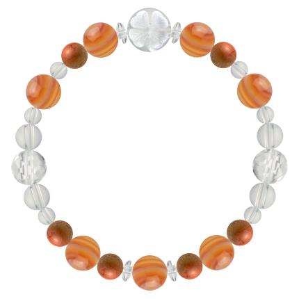 心身の力を高める | サードオニキス・レッドジャスパー・水晶(クォーツ) 花かずら(8mm)ブレスレット