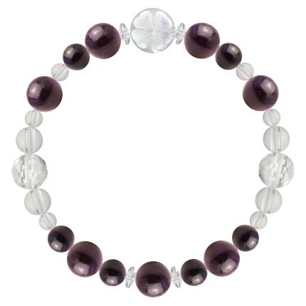 紫紺色 | スギライト・水晶(クォーツ) 花かずら(8mm)ブレスレット