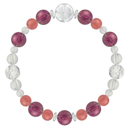 愛あふれる人生に導く | ピンクトルマリン・インカローズ・水晶(クォーツ) 花かずら(8mm)ブレスレット