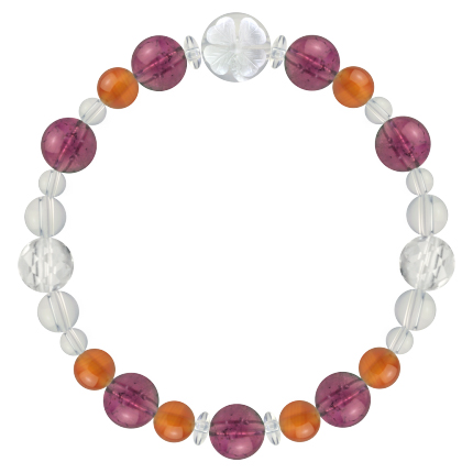 強い忍耐力をもたらす | ピンクトルマリン・カーネリアン・水晶(クォーツ) 花かずら(8mm)ブレスレット