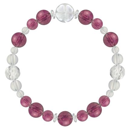 牡丹色 | ピンクトルマリン・水晶(クォーツ) 花かずら(8mm)ブレスレット