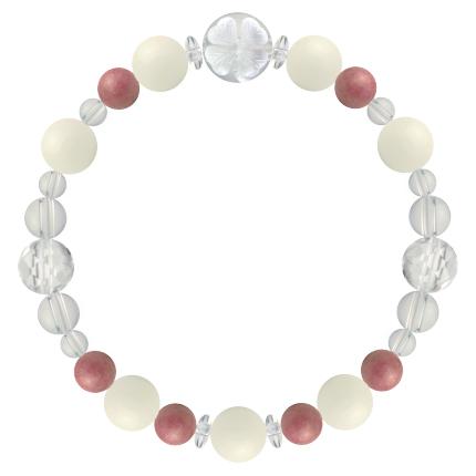 安定した愛情を育む | ホワイトコーラル・ロードナイト・水晶(クォーツ) 花かずら(8mm)ブレスレット