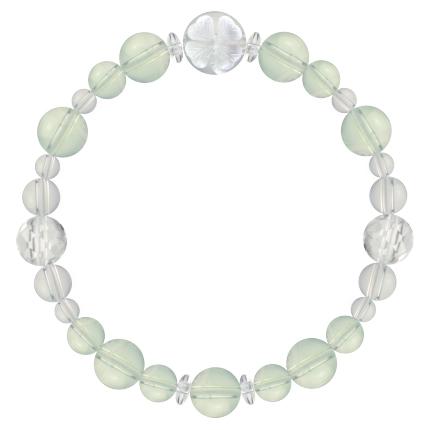 白緑色 | グリーンアメジスト・水晶(クォーツ) 花かずら(8mm)ブレスレット