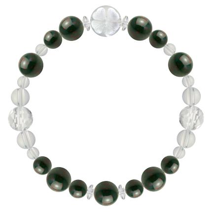千歳緑色 | ブラッドストーン・水晶(クォーツ) 花かずら(8mm)ブレスレット