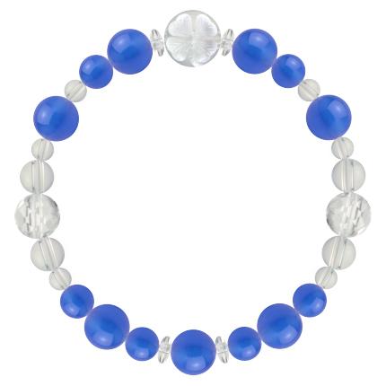 青色 | ブルーメノウ・水晶(クォーツ) 花かずら(8mm)ブレスレット