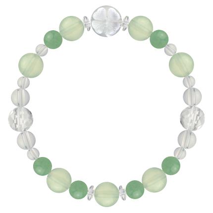 心身の回復力を高める | プレナイト・アベンチュリン・水晶(クォーツ) 花かずら(8mm)ブレスレット