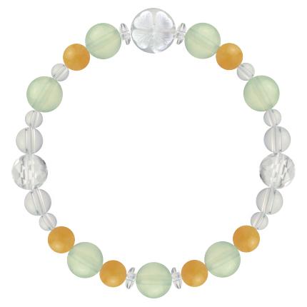 心身の回復力を助ける | プレナイト・イエローアベンチュリン・水晶(クォーツ) 花かずら(8mm)ブレスレット