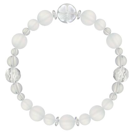 白色 | フロスティクォーツ・水晶(クォーツ) 花かずら(8mm)ブレスレット