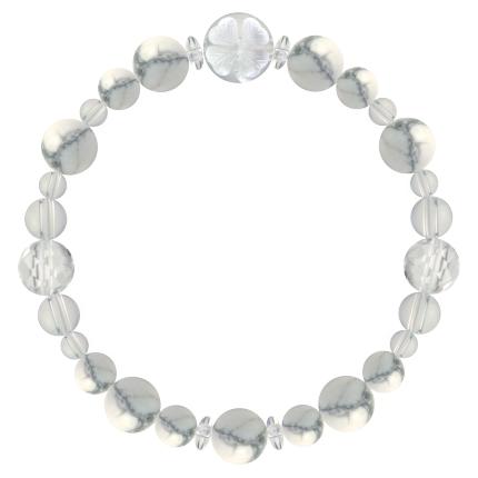 灰白色 | ハウライト・水晶(クォーツ) 花かずら(8mm)ブレスレット