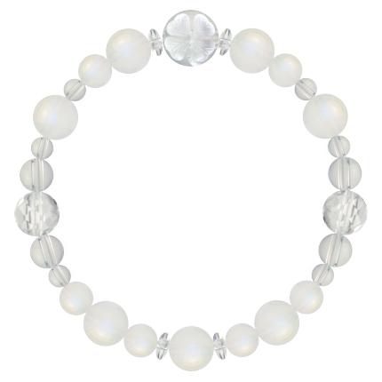 月白色 | ブルームーンストーン・水晶(クォーツ) 花かずら(8mm)ブレスレット