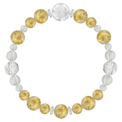 黄金色 | ルチルクォーツ・水晶(クォーツ) 花かずら(8mm)ブレスレット