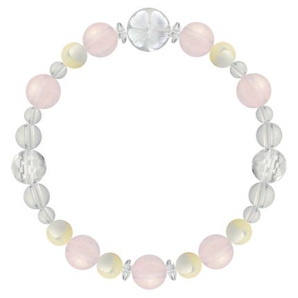 愛情と優しさを授ける | ローズクォーツ・マザーオブパール・水晶(クォーツ) 花かずら(8mm)ブレスレット