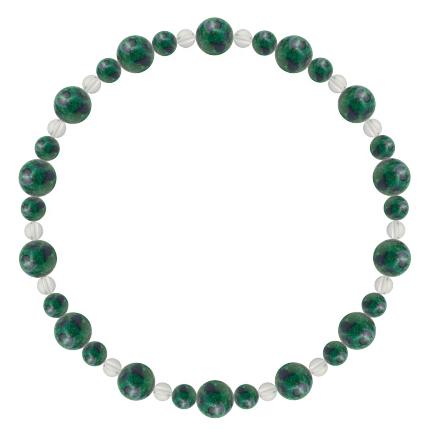 緑青色 | アズロマラカイト・水晶(クォーツ) 鳳凰(6mm)ブレスレット