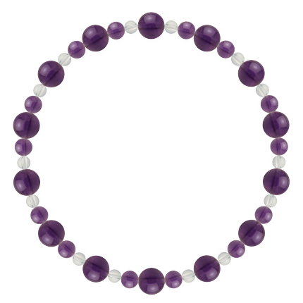 紫色 | アメジスト・水晶(クォーツ) 鳳凰(6mm)ブレスレット