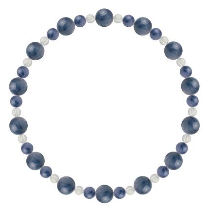 群青色 | カイヤナイト・水晶(クォーツ) 鳳凰(6mm)ブレスレット