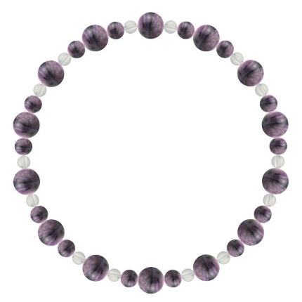 京紫色 | チャロアイト・水晶(クォーツ) 鳳凰(6mm)ブレスレット