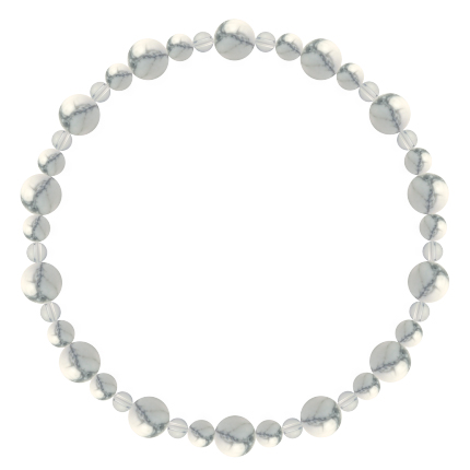 灰白色 | ハウライト・水晶(クォーツ) 鳳凰(6mm)ブレスレット