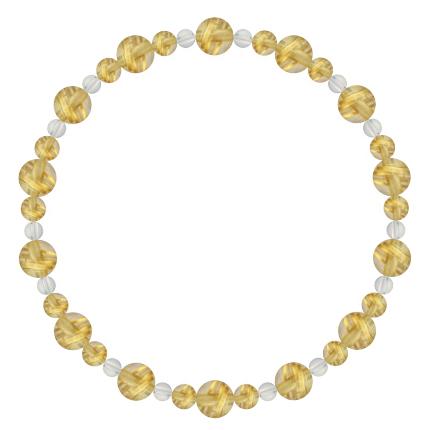 黄金色   ルチルクォーツ・水晶(クォーツ) 鳳凰(6mm)ブレスレット