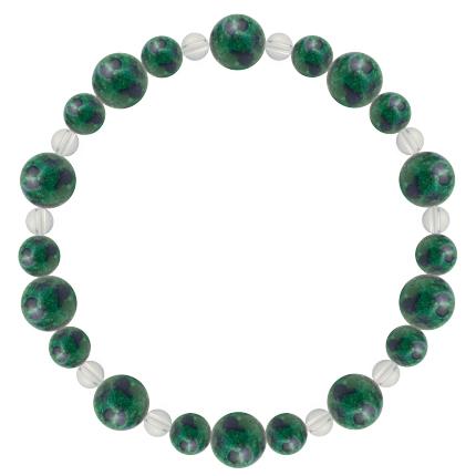 緑青色 | アズロマラカイト・水晶(クォーツ) 鳳凰(8mm)ブレスレット