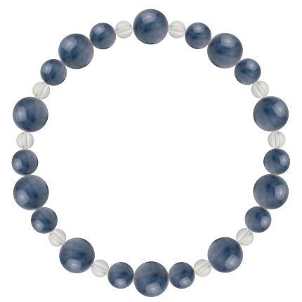 群青色   カイヤナイト・水晶(クォーツ) 鳳凰(8mm)ブレスレット