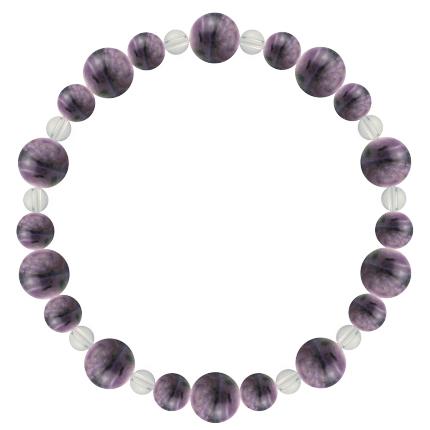 京紫色 | チャロアイト・水晶(クォーツ) 鳳凰(8mm)ブレスレット