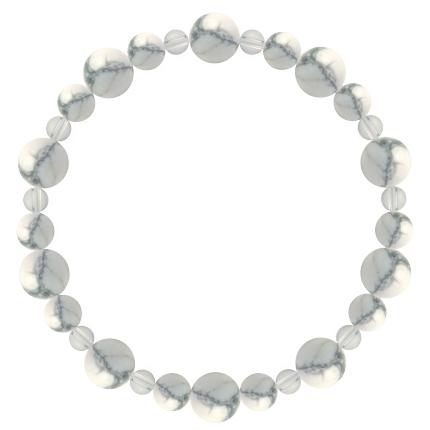 灰白色 | ハウライト・水晶(クォーツ) 鳳凰(8mm)ブレスレット