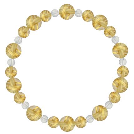 黄金色 | ルチルクォーツ・水晶(クォーツ) 鳳凰(8mm)ブレスレット