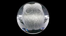 梟(フクロウ) 彫り水晶(8mm)