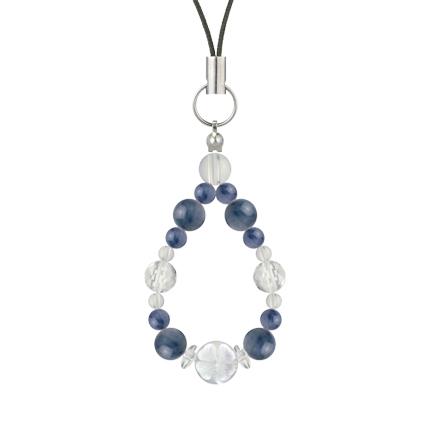 群青色   カイヤナイト・水晶(クォーツ) 花かずら(6mm)ストラップ