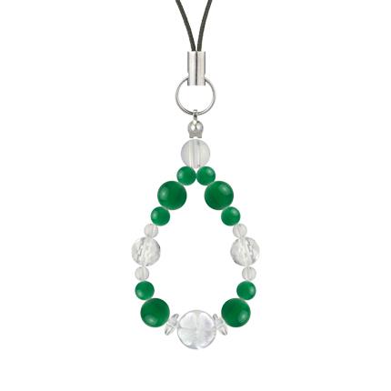 緑色 | グリーンメノウ・水晶(クォーツ) 花かずら(6mm)ストラップ