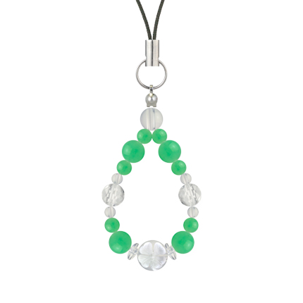 若緑色 | クリソプレーズ・水晶(クォーツ) 花かずら(6mm)ストラップ