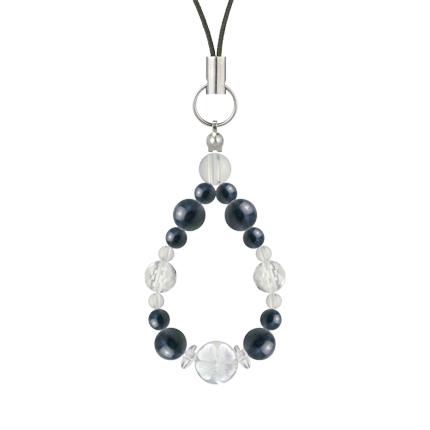 紺青色 | サファイア・水晶(クォーツ) 花かずら(6mm)ストラップ