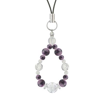 京紫色 | チャロアイト・水晶(クォーツ) 花かずら(6mm)ストラップ