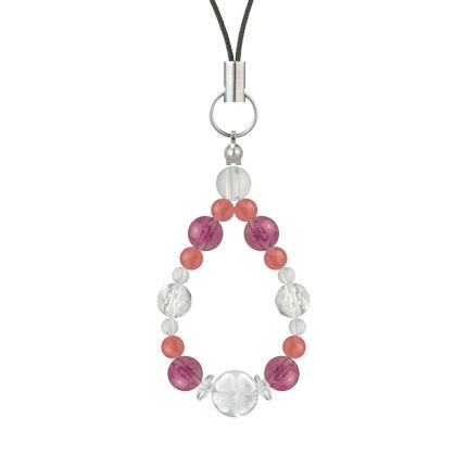 愛あふれる人生に導く | ピンクトルマリン・インカローズ・水晶(クォーツ) 花かずら(6mm)ストラップ