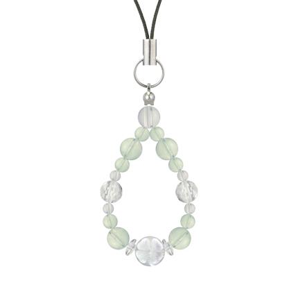 白緑色 | グリーンアメジスト・水晶(クォーツ) 花かずら(6mm)ストラップ