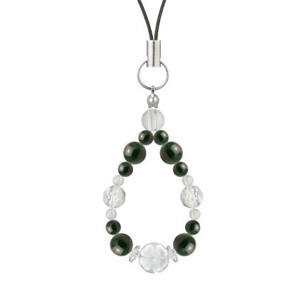 千歳緑色 | ブラッドストーン・水晶(クォーツ) 花かずら(6mm)ストラップ