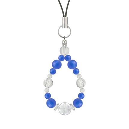 青色 | ブルーメノウ・水晶(クォーツ) 花かずら(6mm)ストラップ