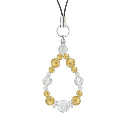 黄金色 | ルチルクォーツ・水晶(クォーツ) 花かずら(6mm)ストラップ