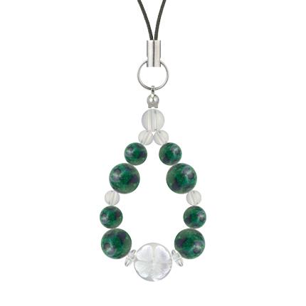 緑青色 | アズロマラカイト・水晶(クォーツ) 花かずら(8mm)ストラップ