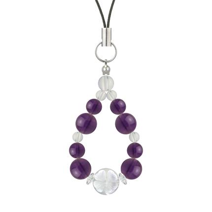 紫色 | アメジスト・水晶(クォーツ) 花かずら(8mm)ストラップ