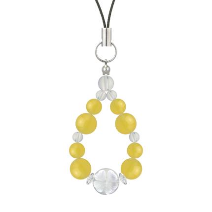 黄色 | イエローメノウ・水晶(クォーツ) 花かずら(8mm)ストラップ